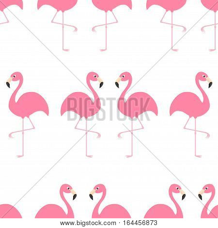 Flamingo Seamless Pattern Exotic tropical bird. Zoo animal collection. Cute cartoon character. Decoration element. White background. Isolated. Flat design. Vector illustration.