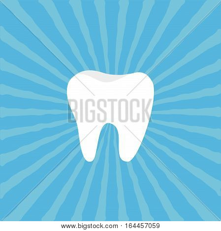 Healthy Tooth icon. Oral dental hygiene. Children teeth care. Blue sunburst starburst background with ray of light. Flat design. Vector illustration