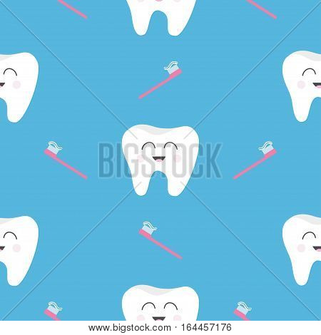 Pattern Seamless Brush Tooth health. Cute funny cartoon smiling character. Oral dental hygiene. Children teeth care. Baby texture. Flat design. Blue background. Vector illustration