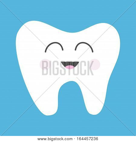 Tooth health icon. Cute funny cartoon smiling character. Oral dental hygiene. Children teeth care. Baby background. Flat design. Vector illustration
