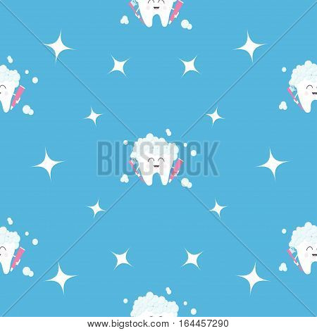 Pattern Seamless Brush Paste Tooth health. Sparkle star. Cute funny cartoon smiling character. Oral dental hygiene. Children teeth care. Baby texture. Flat design. Blue background Vector illustration