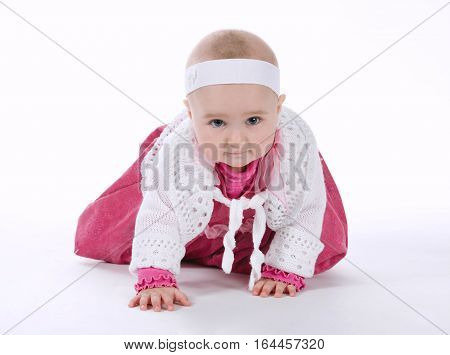 photo of beautiful little girl on white