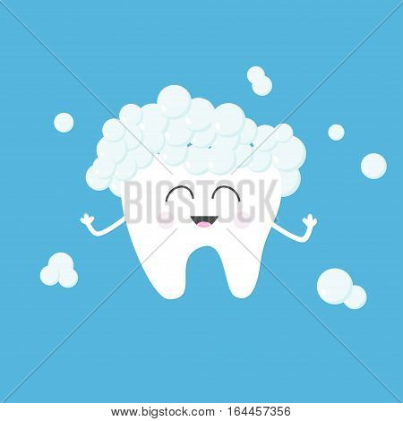Tooth health with toothpaste bubbles foam. Cute funny cartoon smiling character. Children teeth care icon. Oral dental hygiene. Baby background. Flat design. Vector illustration