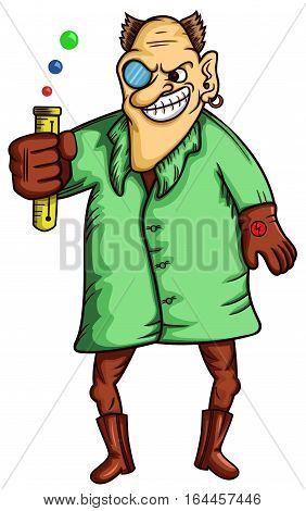 Mad Scientist with Test Tube Cartoon Character. Vector Illustration.