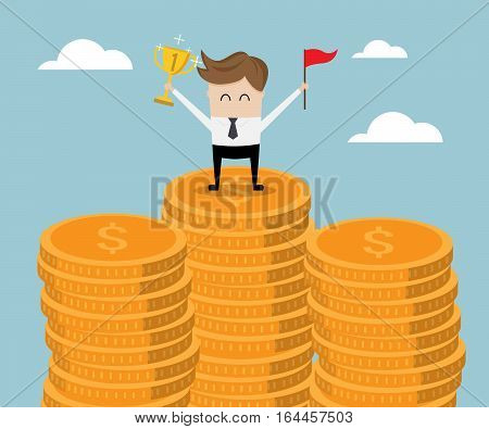 Businessman Standing on Stack of Gold Coin with Trophy and Red Flag Business Success Concept Vector Illustration