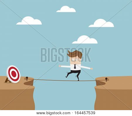 Businessman Walking on Rope at Cliff for Target Business Concept Vector Illustration