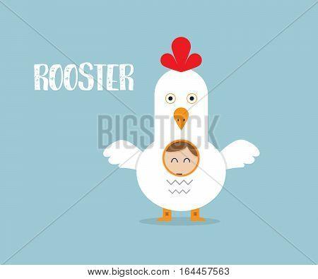 Businessman Wearing Rooster Custume Cartoon Vector Illustration