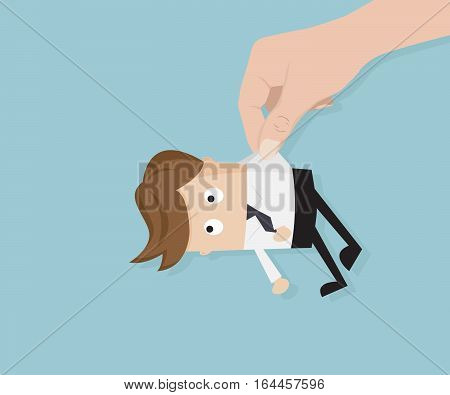 Human Hand Picking Up Businessman Vector Illustration