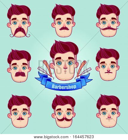 Set of different style mustaches. Hipster style Moustache.Man faces avatar creator. Design flat avatars for social media or web site.barber shop logo graphics