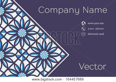 Ornamental vintage business card. Vector template with mosaic background and contact icons