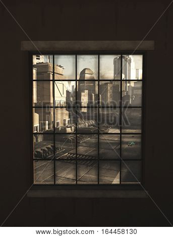 Science fiction illustration of the view of a future city through the window of an industrial building, digital illustration 3D rendering