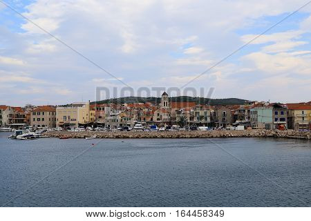 VODICE, CROATIA - SEPTEMBER 7, 2016: This is panoramic view from the sea with the old part of the Croatian seaside town.