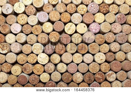 Wall of many different wine corks. Closeup of wine corks.