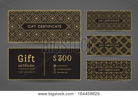 Vintage ornamental gift certificate. Vector set of editable templates include front and back side