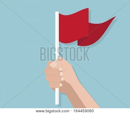 Human Hand Holding with Red Flag Vector Illustration