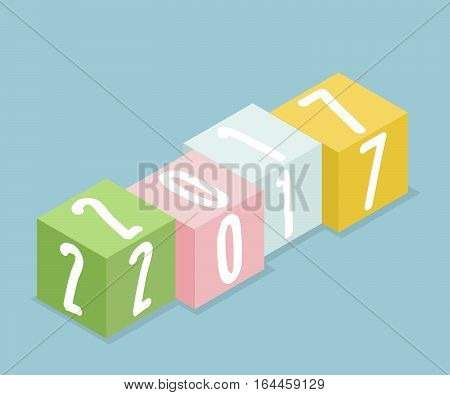 2017 Colorful Box Stack Isometric Happy New Year Concept Background Vector Illustration
