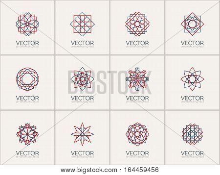 Linear ornamental logo templates set. Vector arabic geometric symbols