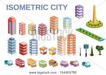 3D kit metropolis of skyscrapers houses gardens and streets in a three-dimensional isometric view