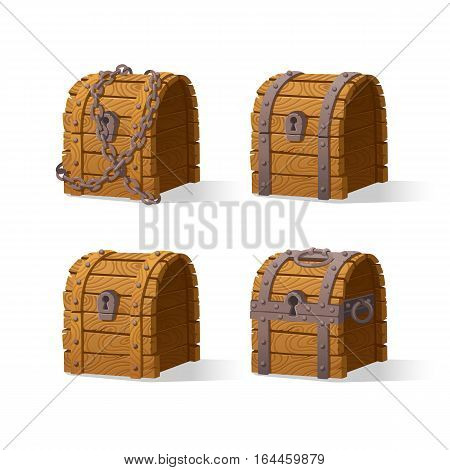 Wooden Chest set for game interface.Vector illustration. treasure of gold coins on white background closed, lock chain