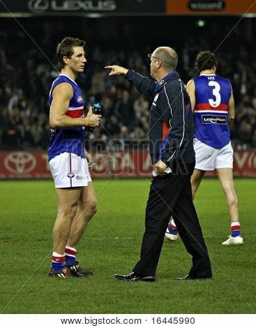 Western Bulldogs coach Rodney Eade lays down the law in their game against Collingwood, June 2008