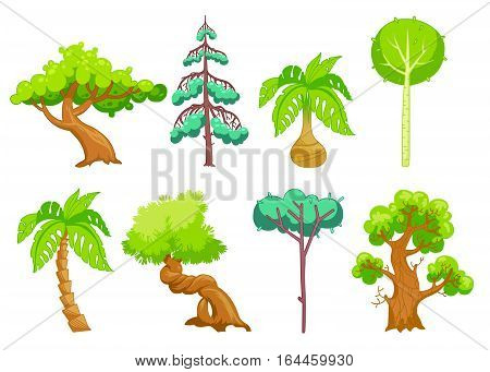 Cartoon nature landscape elements set. Trees clip art, isolated on white.Funny fantasy shape. palm , oak, birch, pine, eucalyptus bonsai