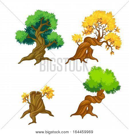 Cartoon nature landscape elements set. Trees clip art isolated on white.Funny fantasy shape. Eucalyptus, bonsai