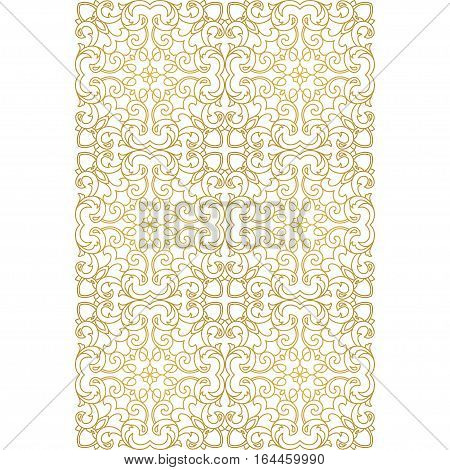 Vector seamless border for design template.  Golden outline floral decor. Eastern style element. Fries can be used for wallpaper, walls, shop windows, tiles, invitations, Web sites.