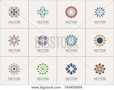 Geometric logo template set. Vector color mosaic arabic ornamental symbols