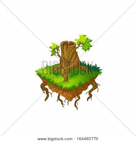 Isometric tree.Vector illustration.Stump, felled trees Isolated on a white background.Game icon.Design for app user interface and score display.Cartoon nature landscape element.