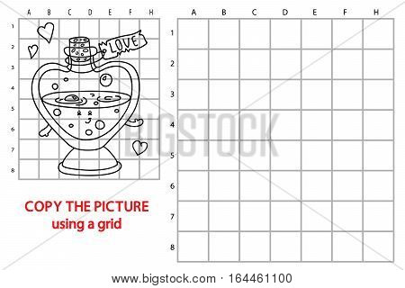 Vector illustration of educational grid copy puzzle with happy cartoon love elixir for children