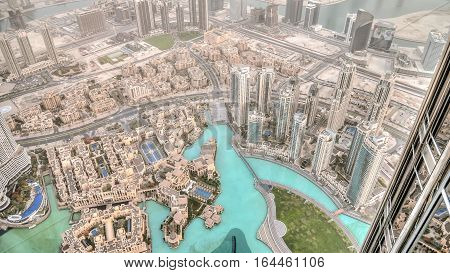 Dubai, UAE - June 2, 2013:View on Dubai from the highest tower in the world, Burj Khalifa