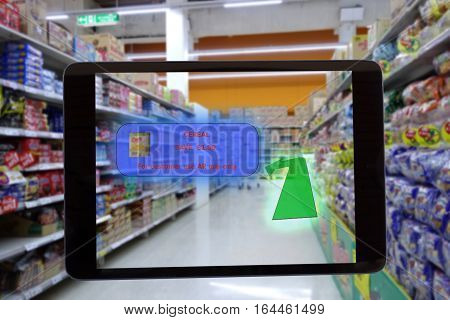 internet of things marketing concepts,smart augmented reality,customer hold the tablet to see the product that show the special price and promotion to save money and the walk path to go the product