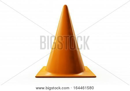 3d rendering orange traffic cone on white background