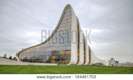 Baku, Azerbaijan - October 22, 2014: Heydar Aliyev center museum: Haydar Aliyev Centre designed by architect Zaha Hadid