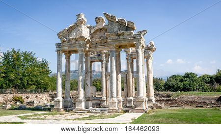 Aydin, Turkey - October 9, 2015: The Monumental gateway of Aphrodisias