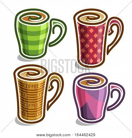 Vector set abstract icons tea Cup: colorful minimalistic teacup with handle, simplistic logo cappuccino cup with swirl, big ceramic checkered mug espresso coffee drink with stripes, isolated on white.