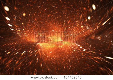 Supernova Explosion. Abstract Colorful Red And Orange Sparks On Black Background. Fantasy Fractal Te
