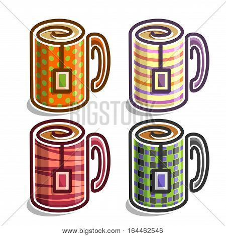 Vector set abstract Tea Cups: colorful minimalistic Mug with handle and tea bag, simplistic logo of cup with teabag, collection porcelain teacup with multicoloured polka dot pattern isolated on white.