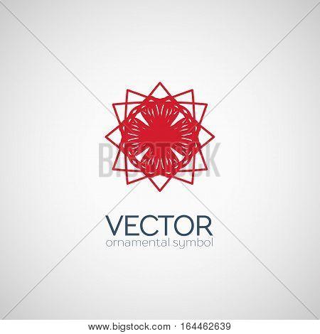 Red circular ornament. Vector geometric symbol or emblem