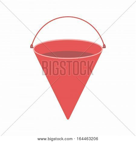 Traditional bright red metal fire bucket isolated against white background