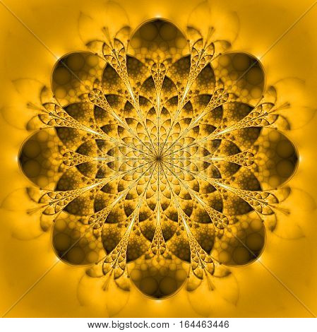 Abstract Exotic Golden Flower. Psychedelic Mandala Design In Yellow And Brown Colors. Fantasy Fracta