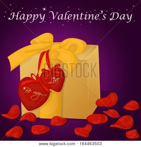 Happy Valentine's Day card with present, hearts and rose petals. Background for valentine's day. Valentine's Day greeting card in cartoon style. Vector illustration. Holiday Collection.