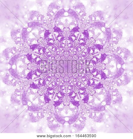 Abstract Exotic Flower. Psychedelic Mandala Design In Light Purple Colors. Fantasy Fractal Art. 3D R