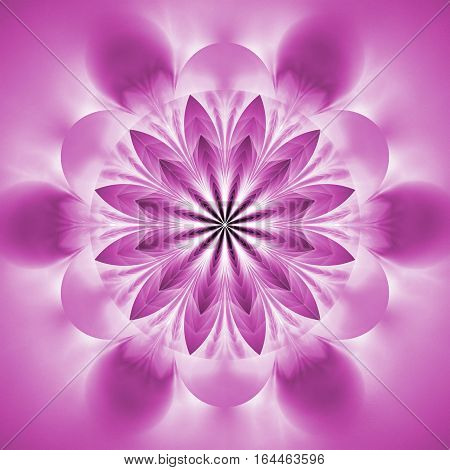 Abstract Exotic Flower. Psychedelic Mandala Design In Light Pink Colors. Fantasy Fractal Art. 3D Ren