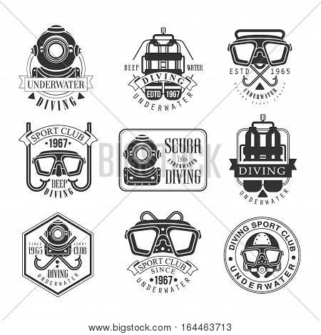 Scuba Diving Underwater Adventure Club Black And White Sign Design Templates With Text And Tools Silhouettes. Collection Of Monochrome Vector Emblems For Deep Water Dive Sport Club Advertisement.