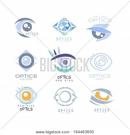 Kids Optics Clinic And Ophthalmology Cabinet Set Of Label Templates In Different Creative Styles And Light Blue Shades. Collection Of Promotion Logo Designs For Children Medical And Health Care Service.