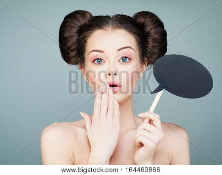 Surprised Model Girl Holding Paper Cloud on Stick. Joyful Young Fashion Woman with Funny Hairstyle. Spa and Skincare Concept