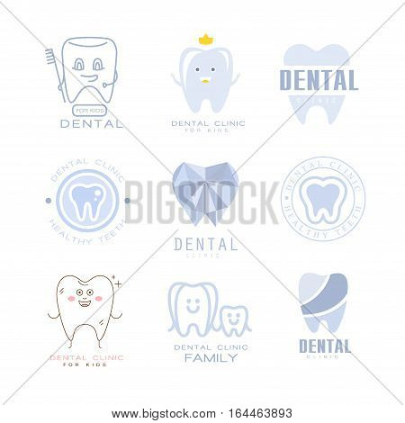 Kids Dental Clinic And Dentist Cabinet Set Of Label Templates In Different Creative Styles And Light Blue Shades. Collection Of Promotion Lodo Designs For Children Medical And HEalth Care Service.