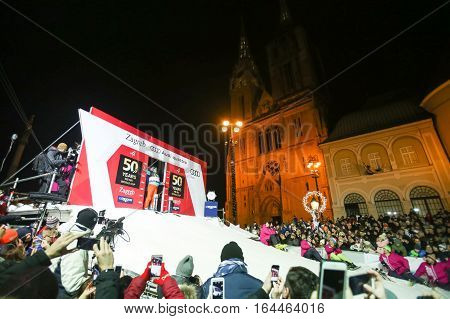 ZAGREB, CROATIA - JANUARY 4th, 2017 : Ski race of overall winners of the FIS World Cup on the ski slope in Bakaceva street, on the road from the cathedral to the main square. Lise-Marie Morerod at the start.