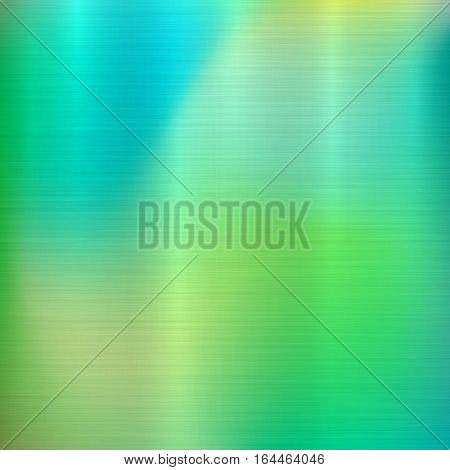 Metal abstract green colorful gradient technology background with polished, brushed texture, chrome, silver, steel, aluminum for design concepts, web, prints, wallpapers. Vector illustration.